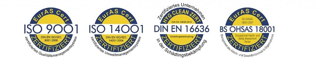 Leeser & Will Schädlingsbekämpfung ist stolz darauf, gleich 4-fach zertifiziert zu sein.