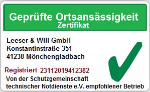 Zertifikat Geprüfte Ortsansässigkeit - Leeser & Will
